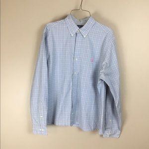 Ralph Lauren mens blue plaid dress shirt 16 34/35